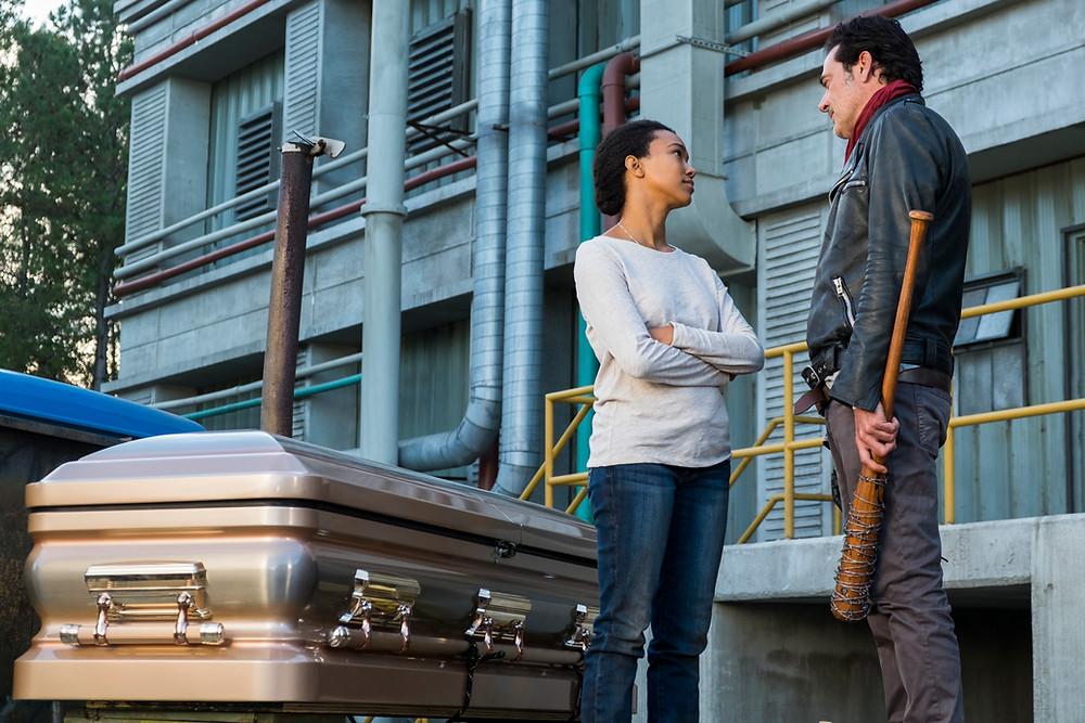 Sonequa Martin-Green (Sasha) and Jeffrey Dean Morgan (Negan). Photo credit Gene Page/AMC