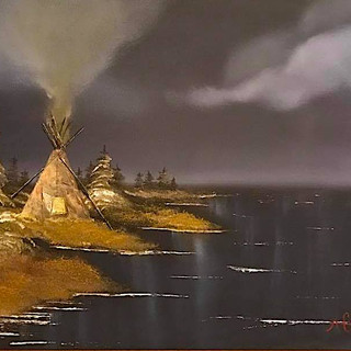 Tipi on the Lake 16x20 (Oil on Panel)