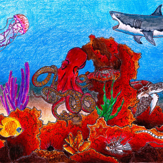 Under the Sea 7x10 (Mixed Media on Paper)