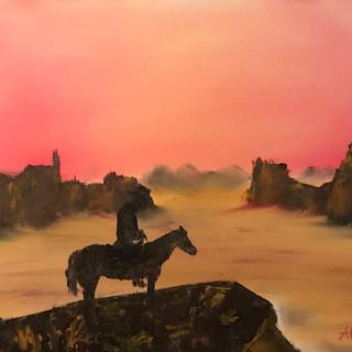 Lone Cowboy 16x20 (Oil on Panel)