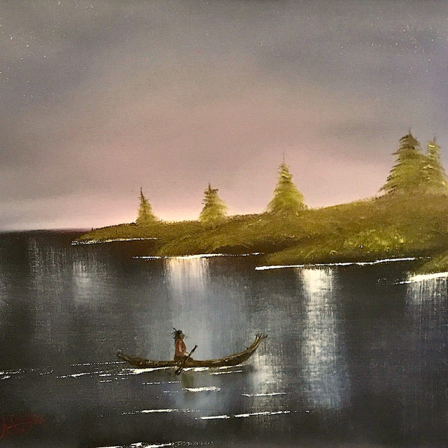 Native on the lake 18x24 (Oil on Panel)