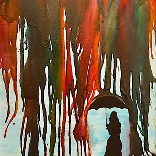 Crayon Rain 16x20