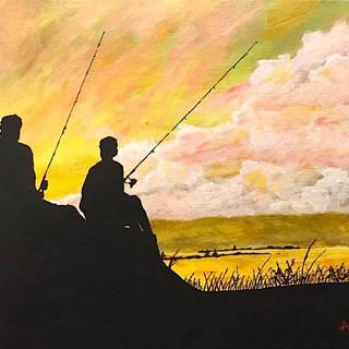 Sunset Fishin 11x14 (Acrylic on Panel)