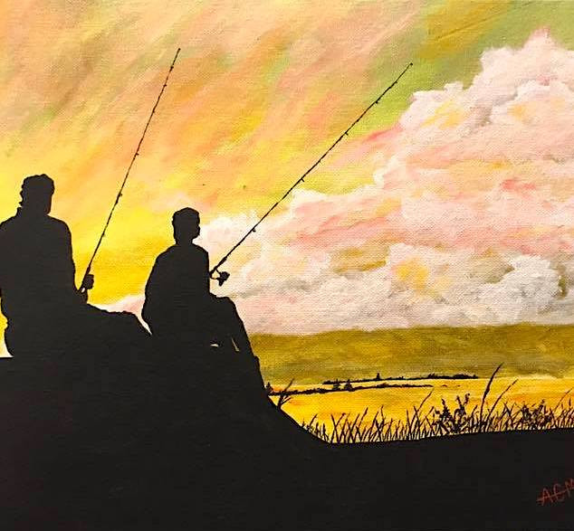 Sunset Fishin 11x14 (Acrylic on Panel)