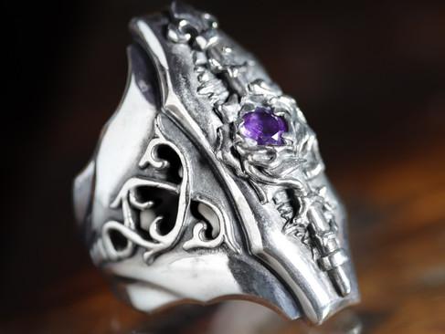 【 F.A.L 】ラージパープルローズリング — 姹紫·玫瑰戒指