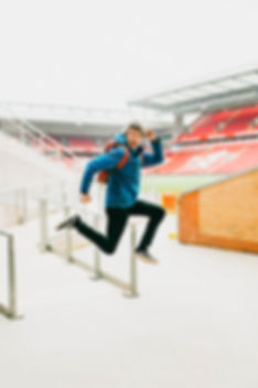 jumping photo at Anfield Liverpool FC