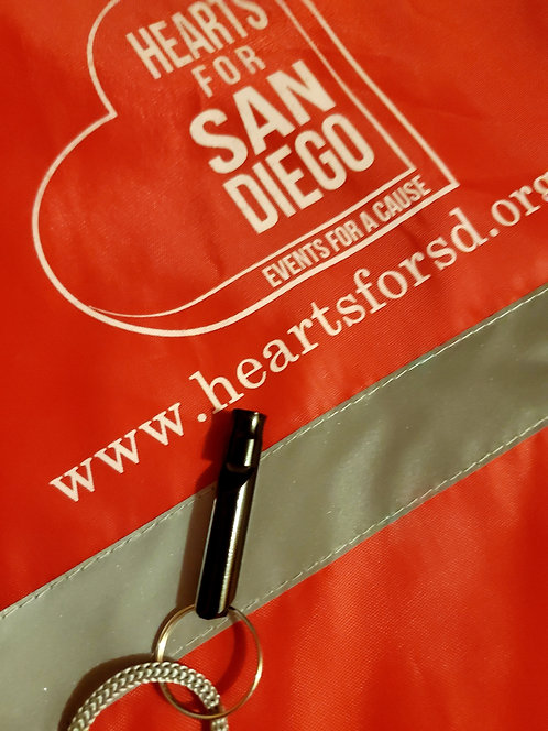 H4SD Red Drawstring Backpack w/reflective stripe and whistle