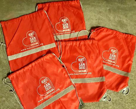 5-pack H4SD Red Drawstring Backback w/whistle