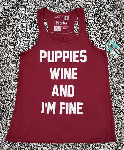 Puppies & Wine - Women's Racerback Tank (L)