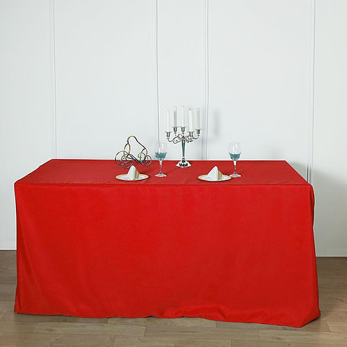 6ft Red Fitted Rectangular Linen