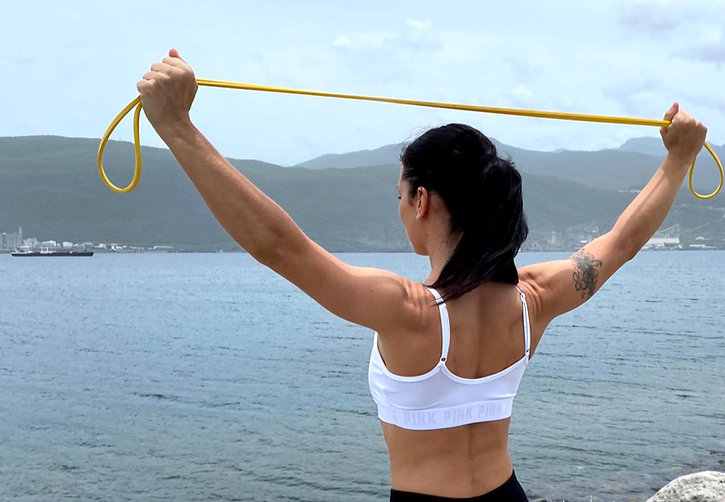 Image of a resistance band stretch