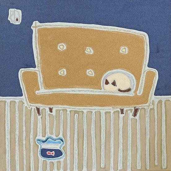 ソファと猫と金魚鉢