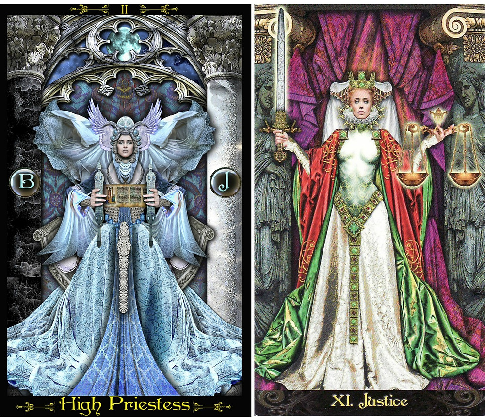 High Priestess and Justice Deck images of the Tarot Illuminati by kind permission of Erik C Dunne