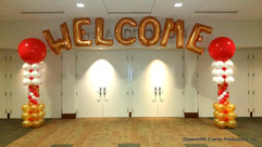 Welcome balloon arch