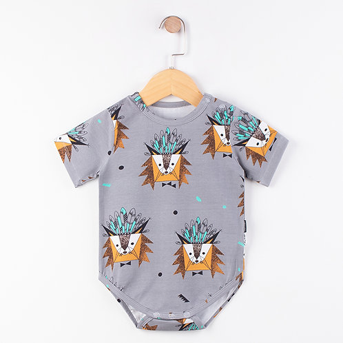 BB BOY ROMPER SHORT SLEEVES (GREY)