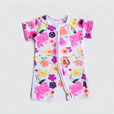 BB ROMPER (BRIGHT PINK) BB GIRL ROMPER SHORT SLEEVES (FLORAL)