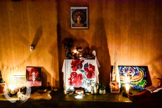 Altar with Priestess Liz's Art