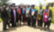 Graduands, staff and faculty members of Intenational Developmen Institute- Africa (IDIA) College of Technolgy and Development Studies pose for a photo at Great Lakes University of Kisumu in 2017
