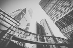 Toned image of modern office buildings i