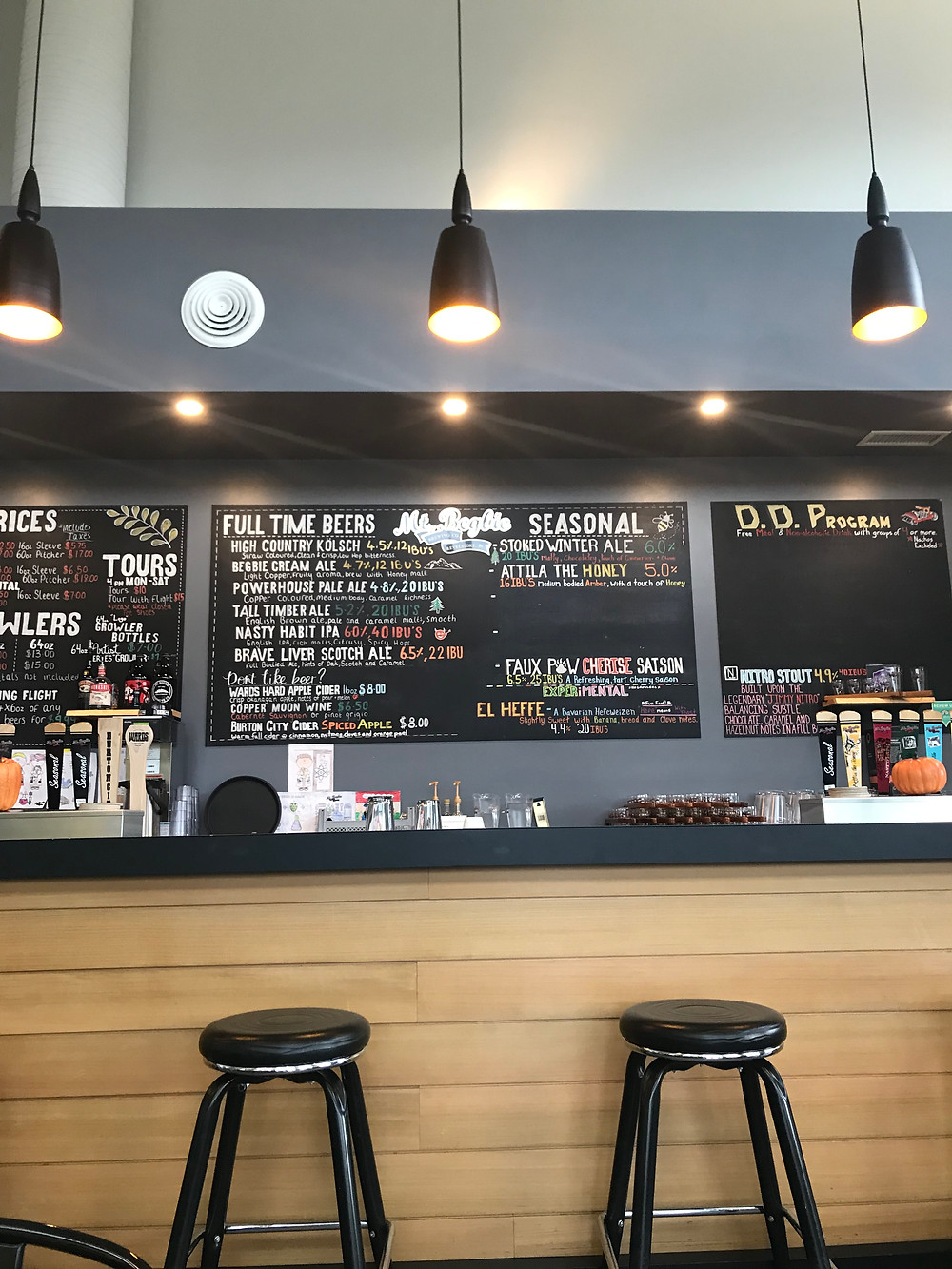 menu at mt begbie brewery tasting room