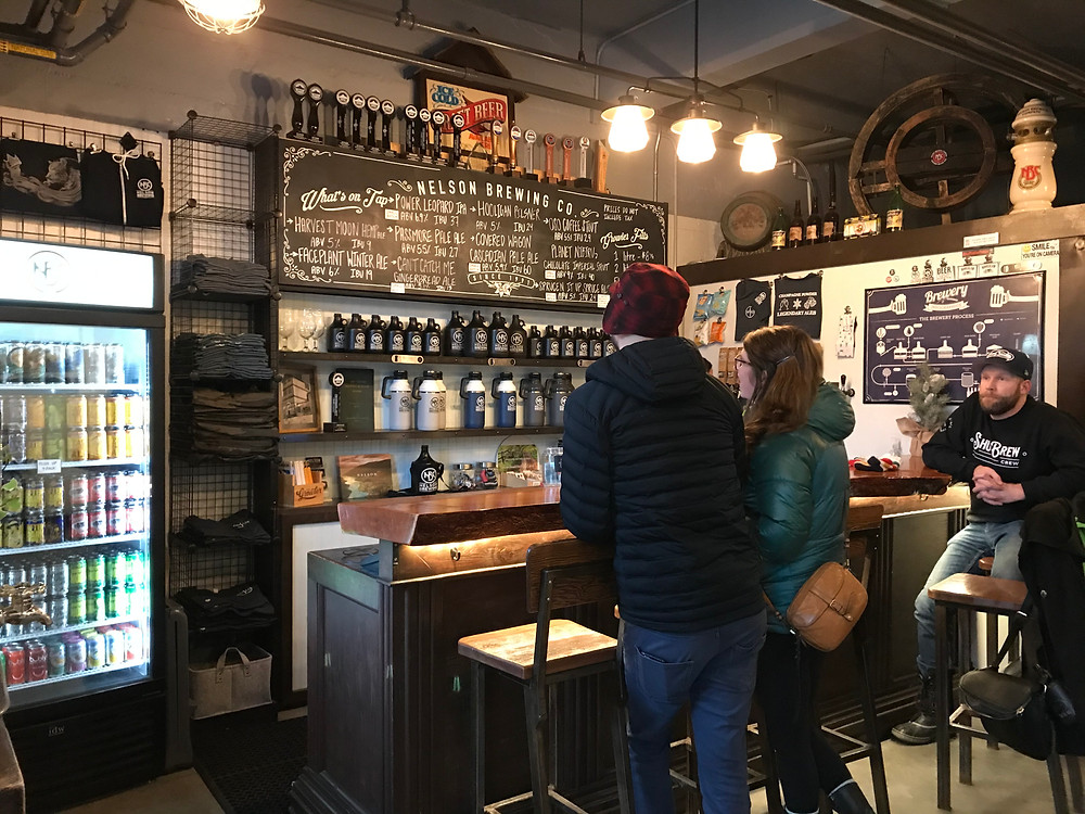 nelson brewing company's tasting room and bar serving bc craft beer