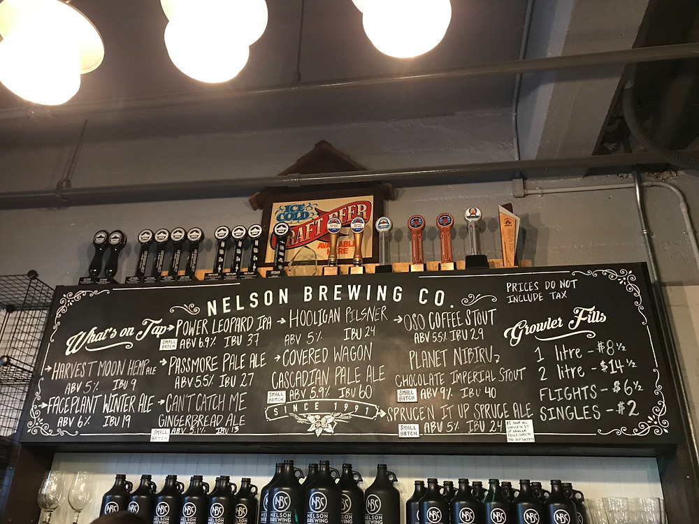 Nelson Brewing Company's menu in their tap room