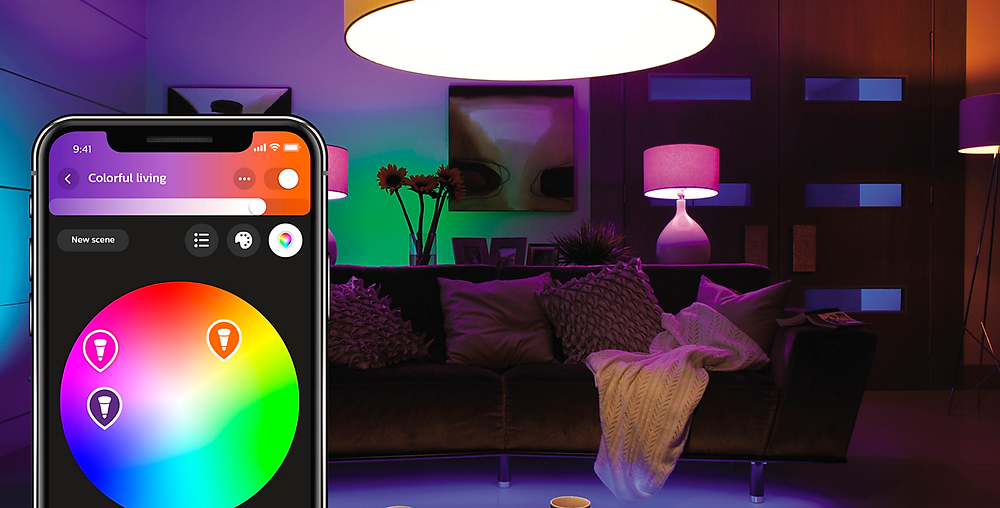 Different Coloured Smart Bulbs and a Mobile Phone
