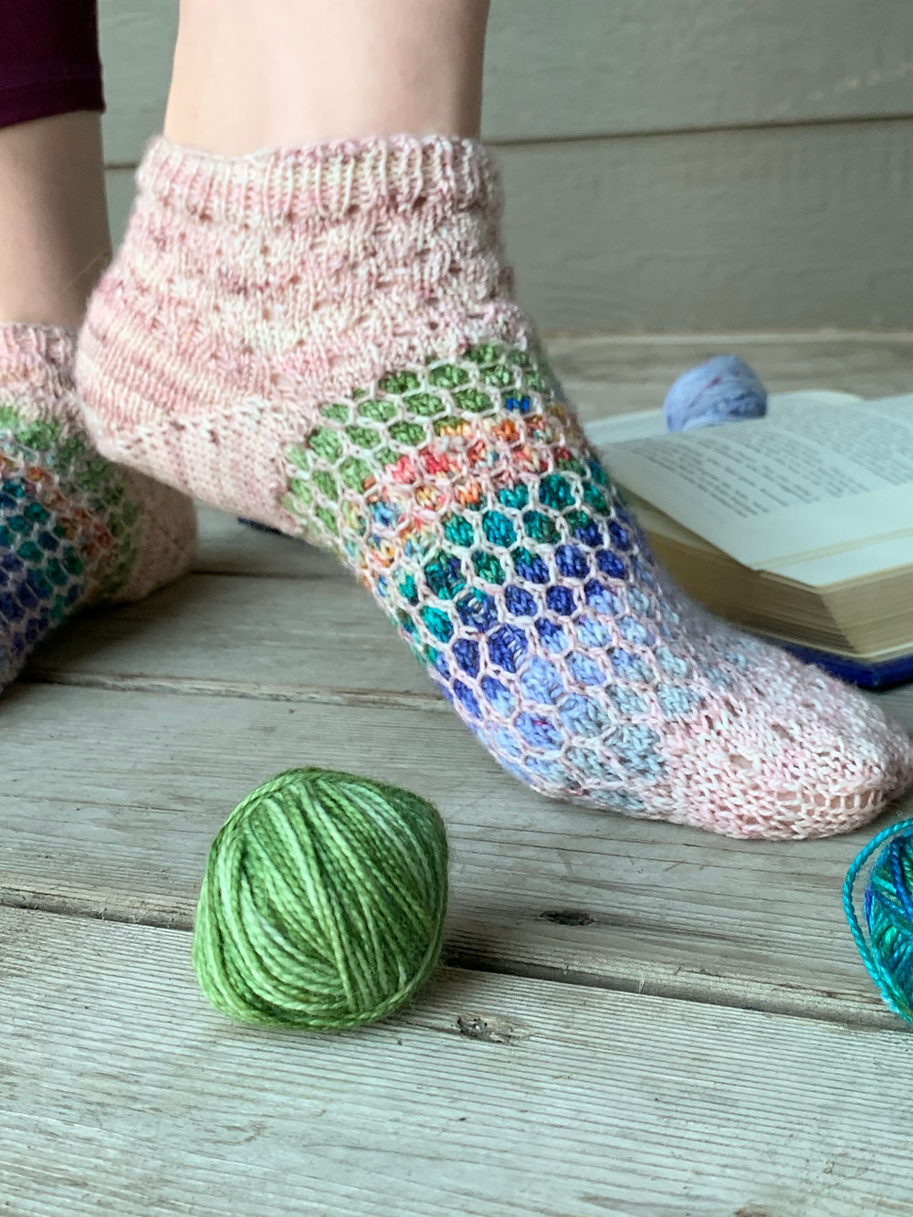 The Adventure Anklets knitting pattern, eyelet lace and mosaic knitted socks that utilize fingering weight yarn and mini skeins