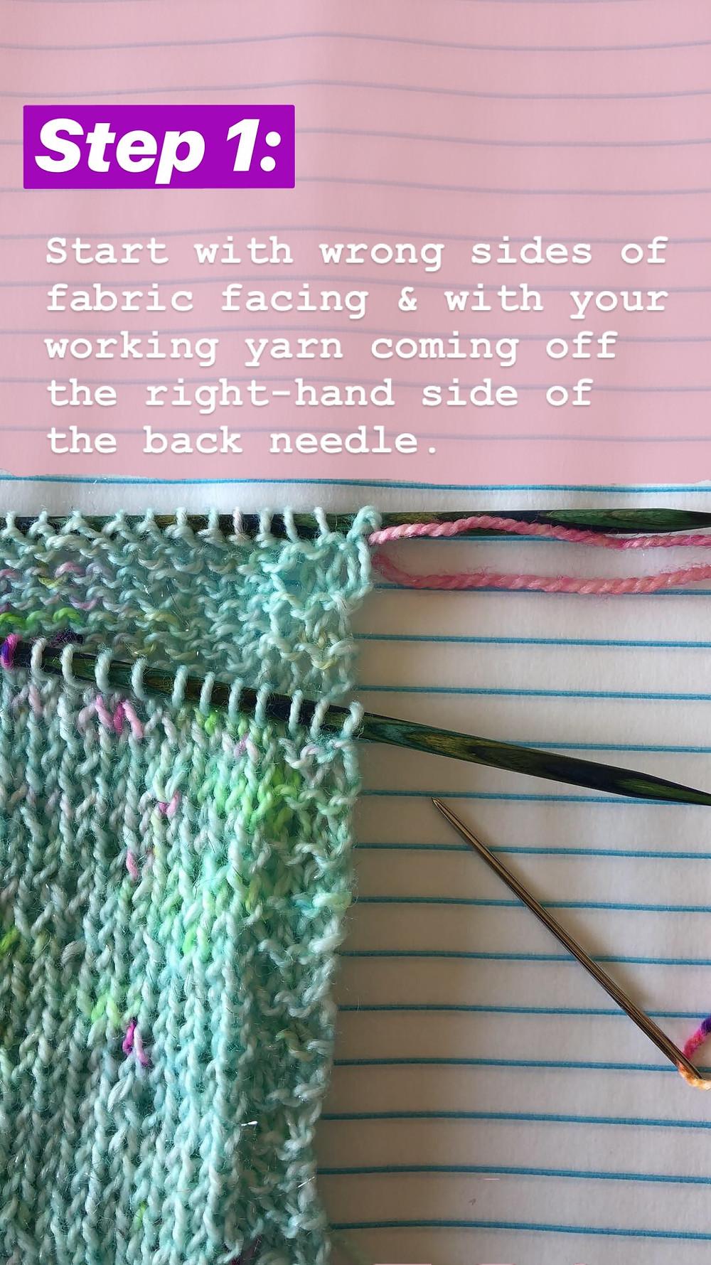 Easy Grafting / Kitchener Stitch Tutorial Step 1