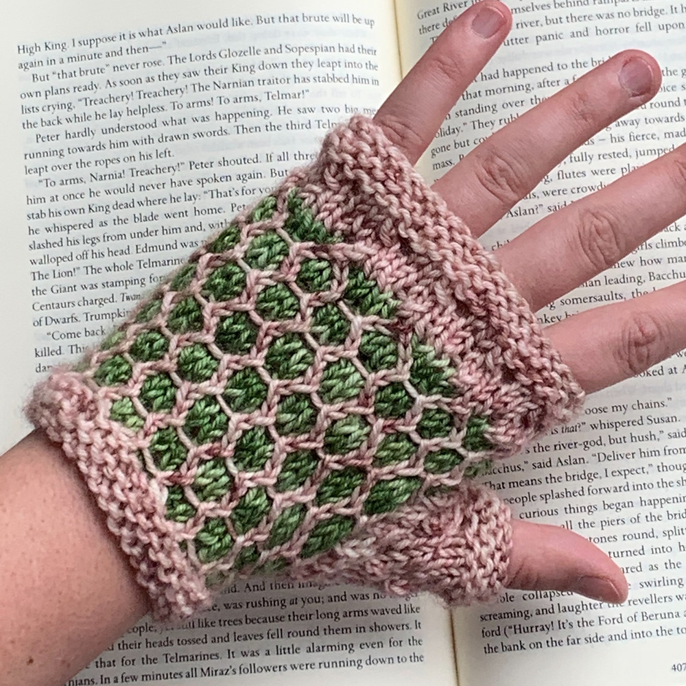 Tales of Childhood Fingerless Mitts Lace and Mosaic Colorwork Knitting Pattern