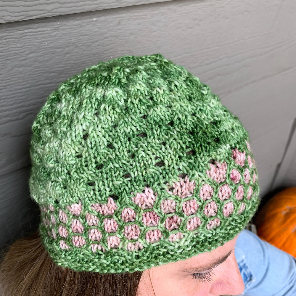Tales of Childhood Hat Lace and Mosaic Colorwork Knitting Pattern