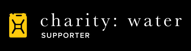 charity: water supporter logo in black and white with a yellow jerry can