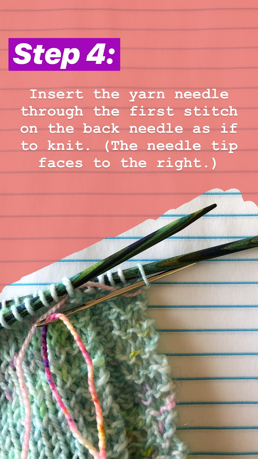 Easy Grafting / Kitchener Stitch Tutorial Step 4