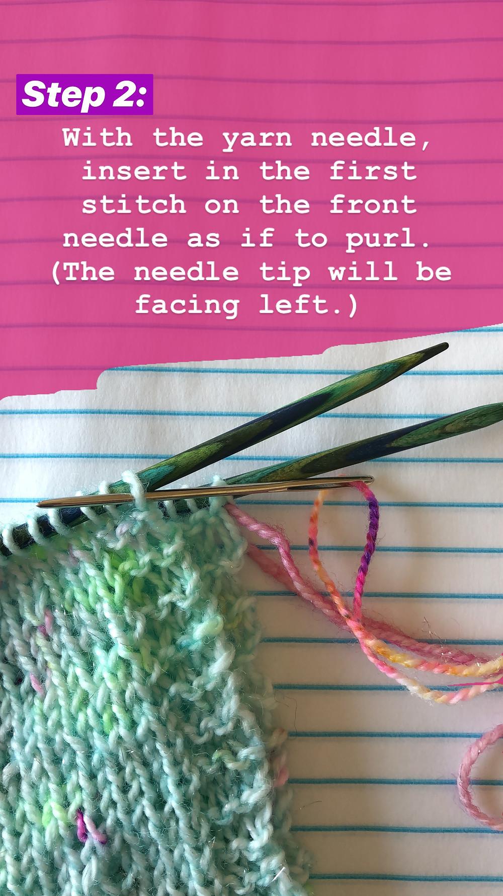 Easy Grafting / Kitchener Stitch Tutorial Step 2