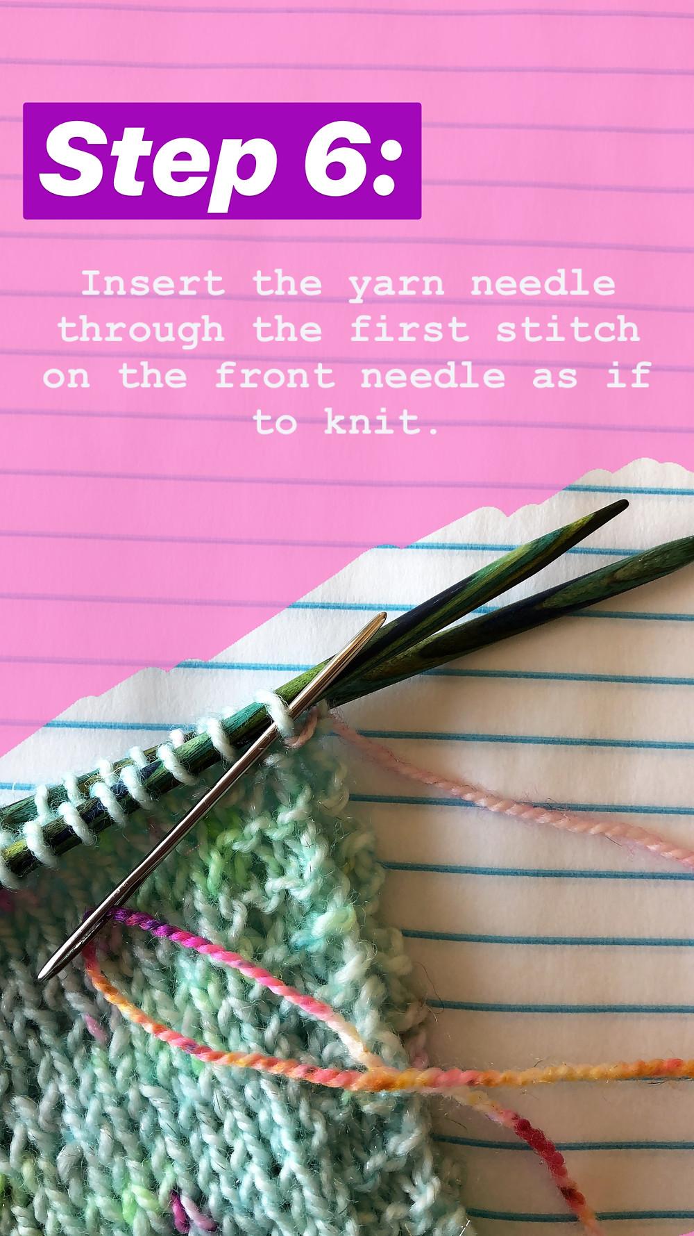 Easy Grafting / Kitchener Stitch Tutorial Step 6