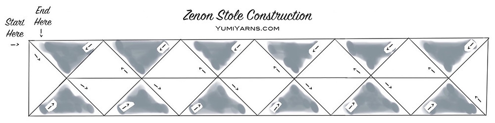 The Zenon Stole uses a unique construction featuring short-rows so that you never have more than 1 color and 36 stitches on the needles at a time.