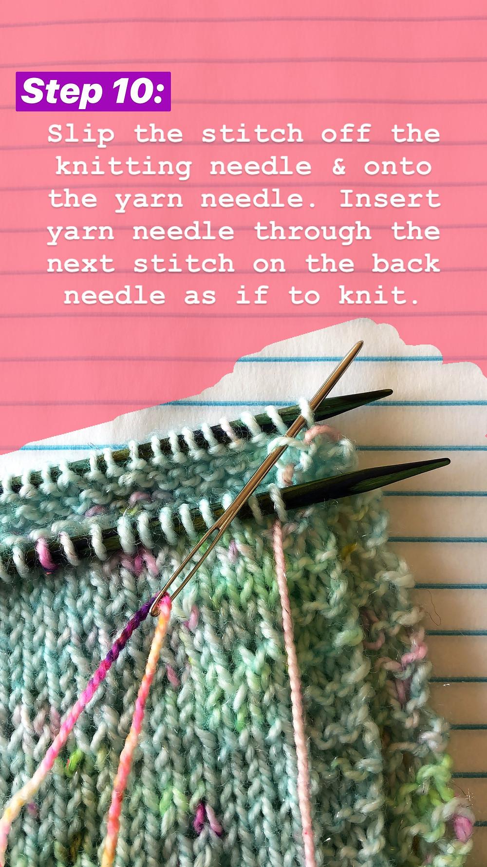 Easy Grafting / Kitchener Stitch Tutorial Step 10