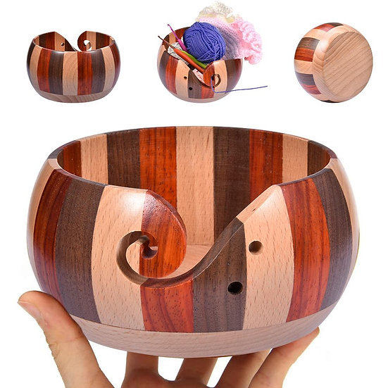 Tri-Color Wooden Yarn Bowl