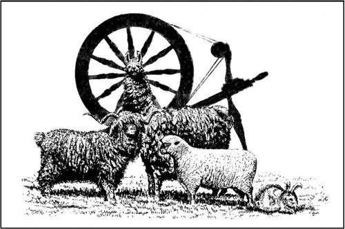 North country fiber fair logo featuring a spinning wheel, goat, sheep, rabbit and alpaca