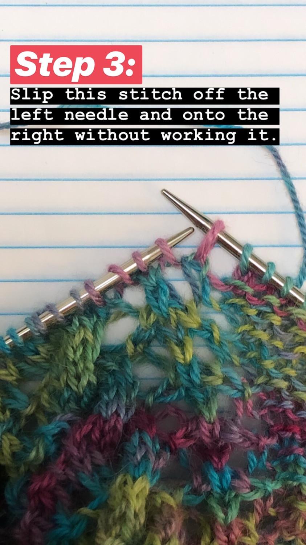 Step by Step SSK (slip, slip, knit) Knitting Tutorial  - Step 3