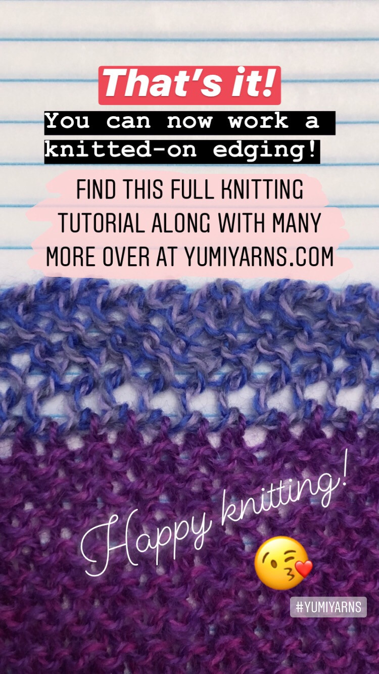 Step by Step Knitted On Edging Knitting Tutorial Finishing
