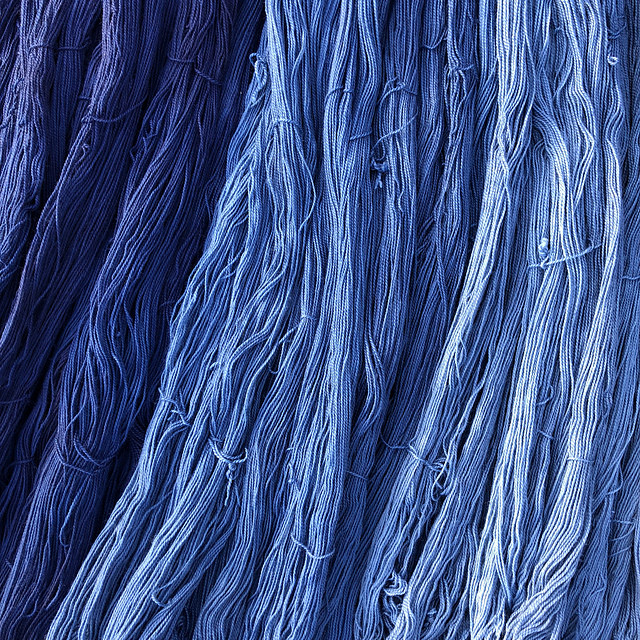 Yumi Yarns Tsuyoi Fingering Weight Yarn in the Indigo Trio Gradient is now available in the shop!