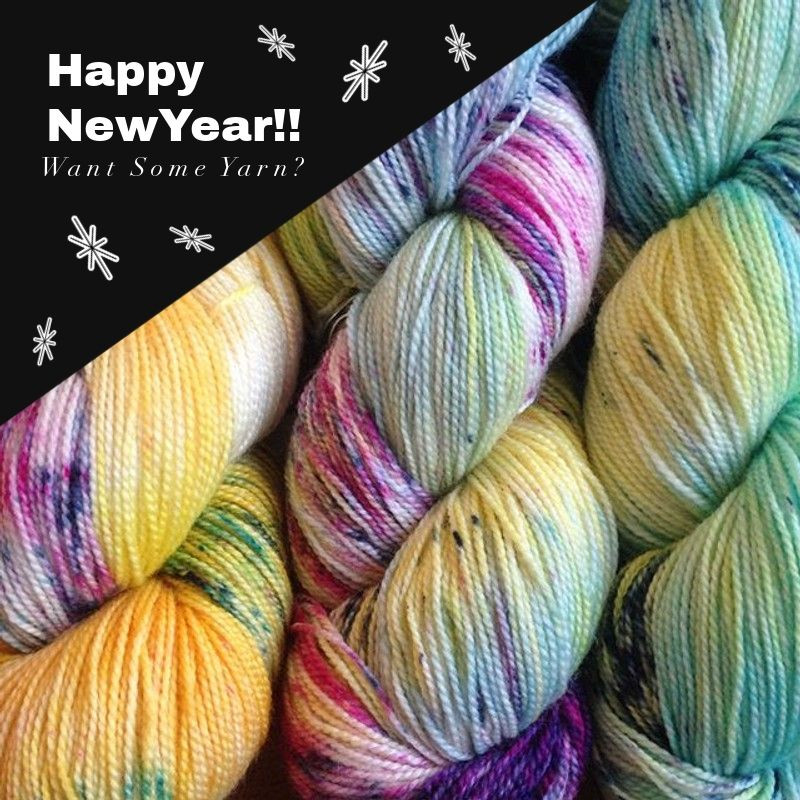 "Image of hand-dyed yarn in pastel hues of yellows, pinks & blues with the wording, ""Happy New Year!! Want Some Yarn?"" Image also includes snowflakes styled as confetti."