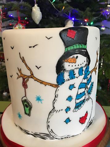 Christmas Cake hand painted