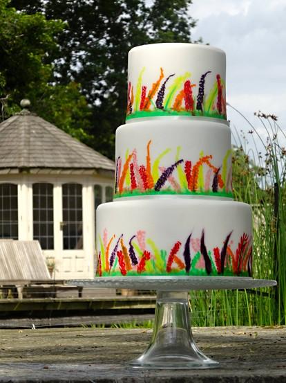 wedding cake, handpainted cake
