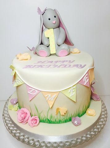 christening cak, bunny cake