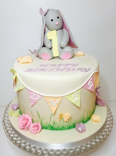 Bunnie Cake, christening cake