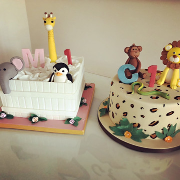 Animal Birthday cake, Christening cake