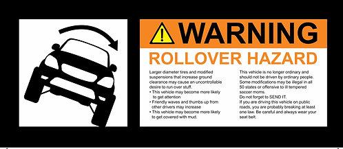 2002-2006 Honda CR-V small ROLLOVER Warning visor sticker