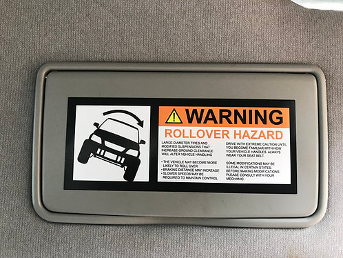 1997-2001 Honda CR-V small ROLLOVER Warning visor sticker